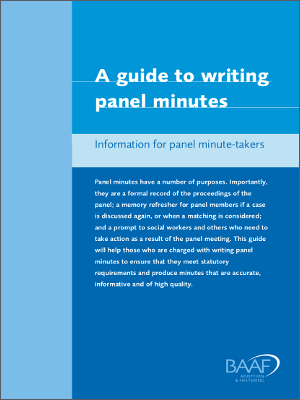 A Guide to Writing Panel Minutes front cover