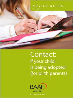 Contact if your child is being adopted cover