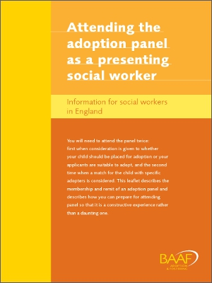 Attending the adoption panel as a presenting social worker cover