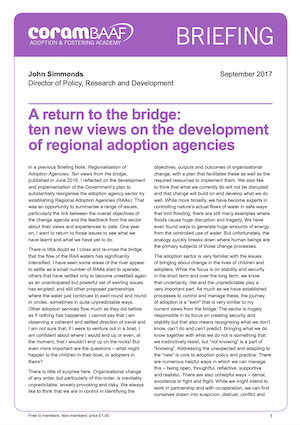 ten new views on the development of regional adoption agencies cover