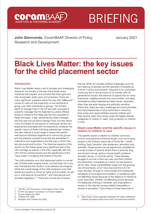 Black Lives Matter: the key issues for the child placement sector cover