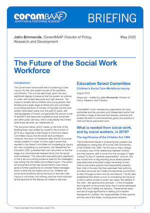 Briefing: The future of the social work workforce cover