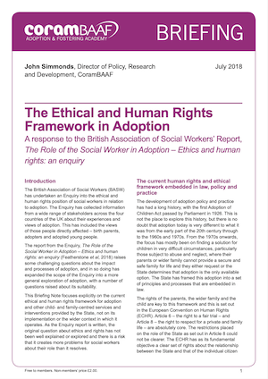 The Ethical and Human Rights Framework in Adoption cover