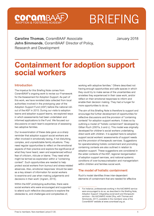 Containment for adoption support social workers cover