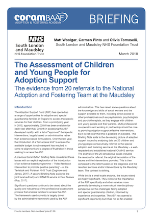 assessment of children and young people for adoption support cover